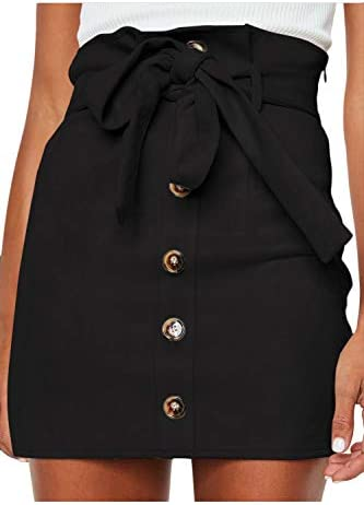 Meyeeka Womens Paperbag Button Belted product image