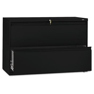 - HON 892LP 800 Series Two-Drawer Lateral File, 42w x 19-1/4d x 28-3/8h, Black