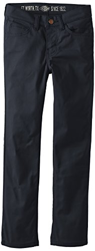 Dickies Big Boys' Uniform 5-Pocket Slim Skinny Pant, Dark Navy, 12