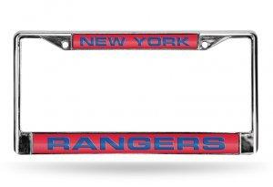 NHL New York Rangers Laser Cut Inlaid Standard Chrome License Plate Frame, Chrome