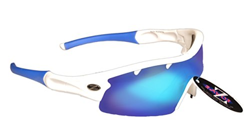 RayZor Professional Lightweight UV400 White Sports Wrap Sailing Sunglasses, With a 1 Piece Vented Blue Iridium Mirrored Anti-Glare - Sunglasses Rowing