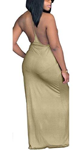 Long Casual Dress Jaycargogo Strap Pocket Maxi Womens Spaghetti Loose with Khaki Baggy YwxST8xq