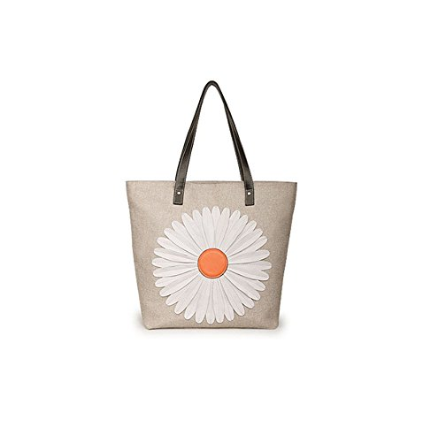 Tide fashion canvas handbag portable shoulder bag big bag ladies straw beach bag (Off white)