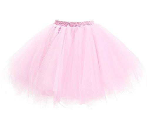 Principessa Sottogonna per il Retro 50 Prom Donna Facent di Annata Danza Tutu di Rosa di Gonna Anno Balletto Tulle Partito 6APqO7