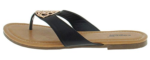Capelli New York Faux leather shallow hooded thong with medallion trim Ladies Flip Flop Black 9