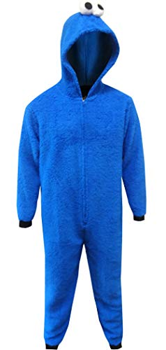 Sesame Street Cookie Monster Hooded Union Suit Mens Pajamas For Men (Large/X-Large)