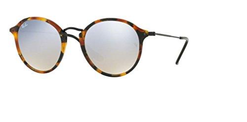 Ray Ban RB2447 11579U 49M Spotted Black Havana/Grey Flash - Phantos Ban Ray Round Sunglasses