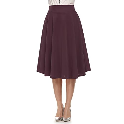 Cheap ANGVNS Women Fashion Casual High Waist Flared Solid A-Line Long Skirt Dress for sale
