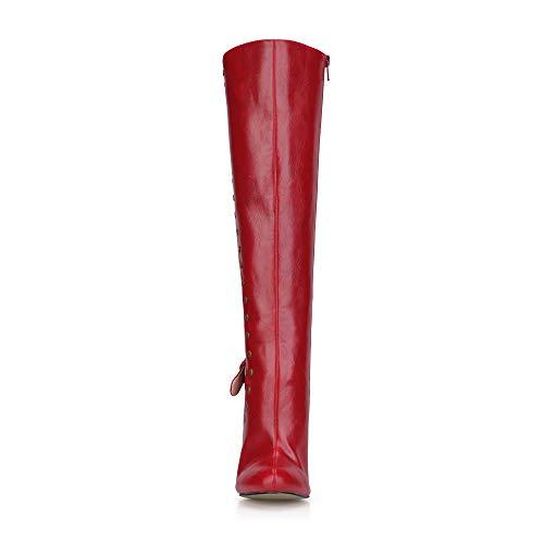 De De Botas La Hebilla Zapatos De Las Altas Mujeres De Altas Rodilla Punta Botas Zapatos Rojos Otoño De PU 12CM La La Botas De De fcFwR