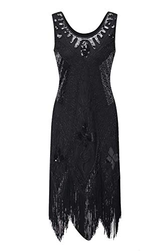Women's Flapper Dress 1920s Beaded Sequin Fringed Great Gatsby Dress Prom (Black, XL) ()