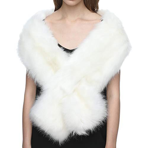 Dikoaina Women's Winter Fake Faux Fur Scarf Wrap Collar Shawl Shrug (White Fake Stole Fur)