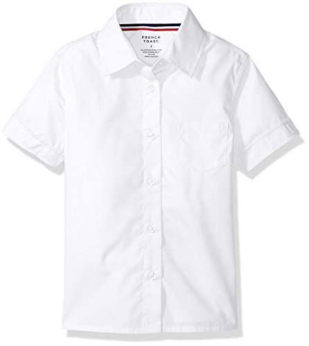 : French Toast Big Girls' Short Sleeve Pointed Collar with Pocket Shirt, White, 10