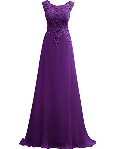 Abendkleider Linie Spitze Kleid Festkleid JAEDEN A Brautjungfer Ballkleider Violett Lang Chiffon 0wwzEIq