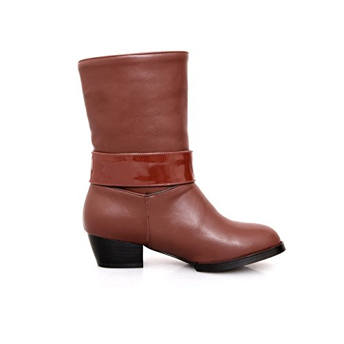 M Womens AmoonyFashion Brown Round Plush 5 Closed Toe Heels PU B Square with US Heels Solid 8 Boots Low Short SUqUwdr