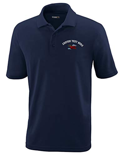 Custom Text Embroidered Biplanes Flying Clouds Mens Adult Button-End Spread Short Sleeve Polyester Proformance Polo Shirt Golf Shirt - Navy, Large