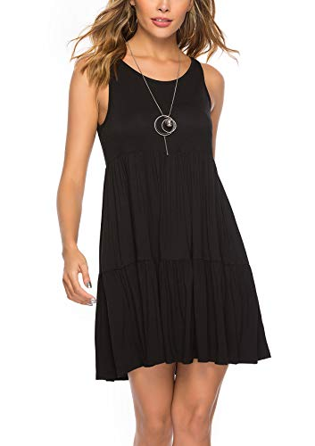 ABirdon Women's Sleeveless Scoop Neck Loose Plain Dresses Pleated Summer Casual T Shirt Dress Without Packet Knee Length - Pleated Neck Dress