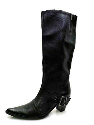 Ykx Co Stivali Nera Di Stivali Stivali Stivali Da Pelle amp; In Da Pelle Cowboy Donna RBRw5qxar