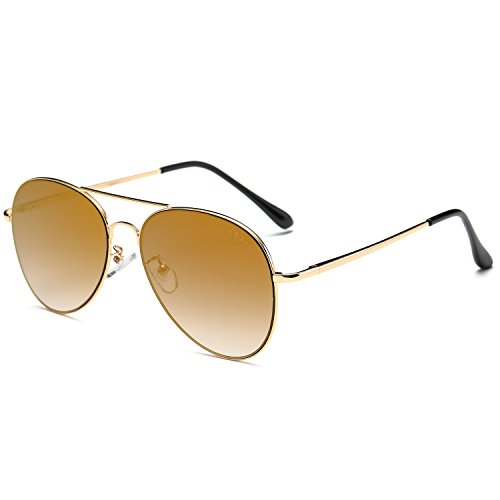 SOJOS Classic Aviator Mirrored Flat Lens Sunglasses Metal Frame with Spring Hinges SJ1030 with Gold Frame/Brown Mirrored Lens -