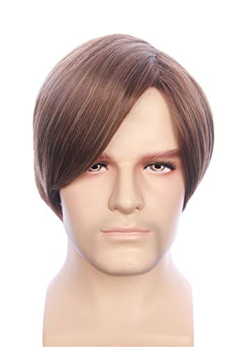 HangCosplay: Leon Wig Inspired of Movie Resident Evil Short Brown Straight highlights Thick Hair for Adults and Teens
