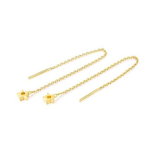 Beydodo 2.35g 24K Yellow Gold 999 Threaded Earring for Womens With Star Pendant Earrings Drop for Wedding