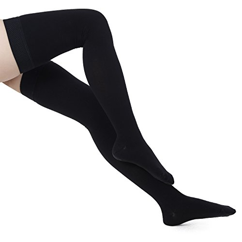 Bogeli Graduated Compression Stockings Close Toe Thigh High 15-20 mmHg Black XL