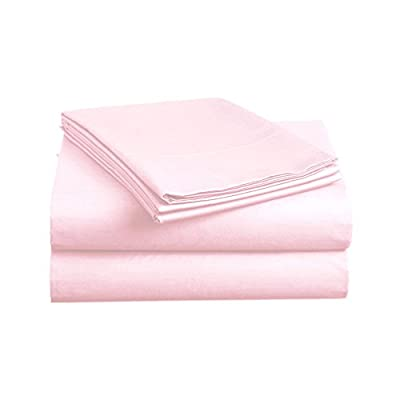 "Luxe Bedding Sets - Queen Sheets 4 Piece, Flat Bed Sheets, Deep Pocket Fitted Sheet, Pillow Cases, Queen Sheet Set - Baby Pink - QUEEN SIZE LUXURY 4pc Bed Sheets Set - 1 flat sheet 102""x90"", 1 fitted sheet 80""x60"", 2 pillowcases 20""x30"". Deep pocket fitted sheet with elastic all around (not just the corners, like other sheets). Fits mattresses up to 14"" FEEL THE DIFFERENCE -Sleep better and wake up each morning feeling refreshed and full of energy. Silky soft, most comfortable and luxurious bed sheets you can find. Best for any room in your house - bedroom, guest room, kids room, RV, vacation home. Great gift idea for men and women, Moms and Dads, Christmas, New year. EASY CARE -Fade, stain, shrink and wrinkle resistant. Machine wash in cold. Dries quick on tumble dry low. More durable than cotton. Hypoallergenic and resistant to dust mites - sheet-sets, bedroom-sheets-comforters, bedroom - 31t4w8nBTkL. SS400  -"