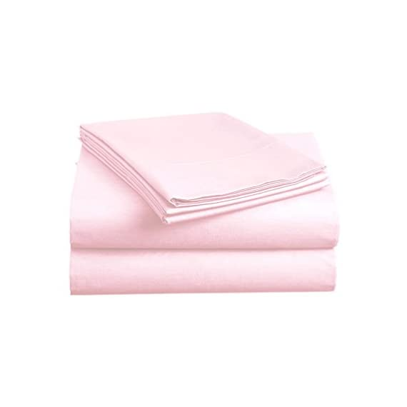 """BASIC CHOICE Bed Sheet Set - Brushed Microfiber 2000 Bedding - Wrinkle, Fade, Stain Resistant - Hypoallergenic - 4 Piece (Queen, Baby Pink) - QUEEN SIZE LUXURY 4pc Bed Sheets Set - 1 flat sheet 102""""x90"""", 1 fitted sheet 80""""x60"""", 2 pillowcases 20""""x30"""". Deep pocket fitted sheet with elastic all around (not just the corners, like other sheets). Fits mattresses up to 14"""" FEEL THE DIFFERENCE -Sleep better and wake up each morning feeling refreshed and full of energy. Silky soft, most comfortable and luxurious bed sheets you can find. Best for any room in your house - bedroom, guest room, kids room, RV, vacation home. Great gift idea for men and women, Moms and Dads, Christmas, New year. EASY CARE -Fade, stain, shrink and wrinkle resistant. Machine wash in cold. Dries quick on tumble dry low. More durable than cotton. Hypoallergenic and resistant to dust mites - sheet-sets, bedroom-sheets-comforters, bedroom - 31t4w8nBTkL. SS570  -"""