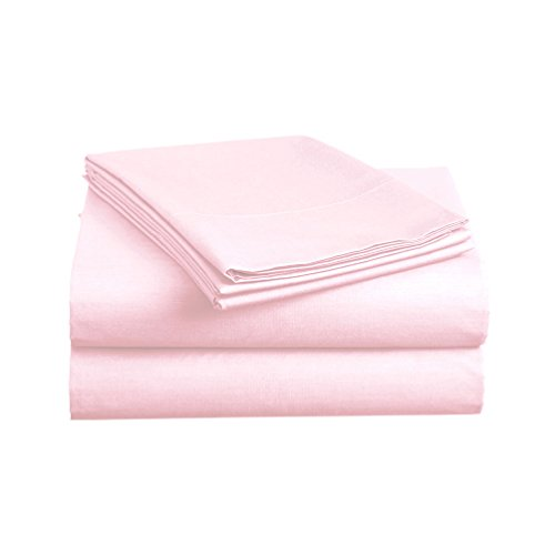 Luxe Bedding Sets - Queen Sheets 4 Piece, Flat Bed Sheets, Deep Pocket Fitted Sheet, Pillow Cases, Queen Sheet Set - Baby Pink - Pastel Satin Pillow