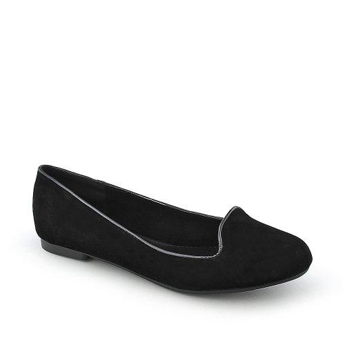 Shiekh Womens Shiekh Flat Casual Flat Black Velvet/Silver Trim cqsFrrGFAs