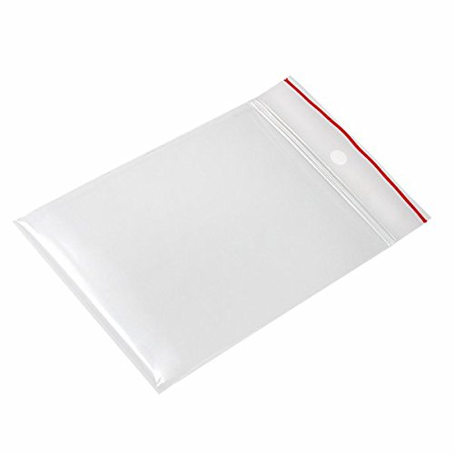 (Minigrip Red Line MGRL4PH0304 Polyethylene (LDPE/LLDPE Blend) Clear Reclosable Bag, Hang Hole, 4