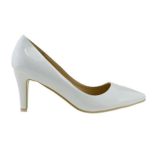 Kick metà del shoes Bianco Donna scarpe Footwear formale smart lavoro tacco alto Womens ufficio gqBCSwrxcg