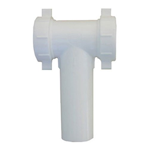 Plastic Center Outlet Tee - LASCO 03-4291 White Plastic Tubular 1-1/2-Inch Slip Joint Center Outlet Baffle Tee with Tailpiece Nuts and Washers