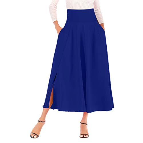 Mikey Store Women High Waist Pleated A Line Long Skirt Front Slit Belted Maxi Skirt ()