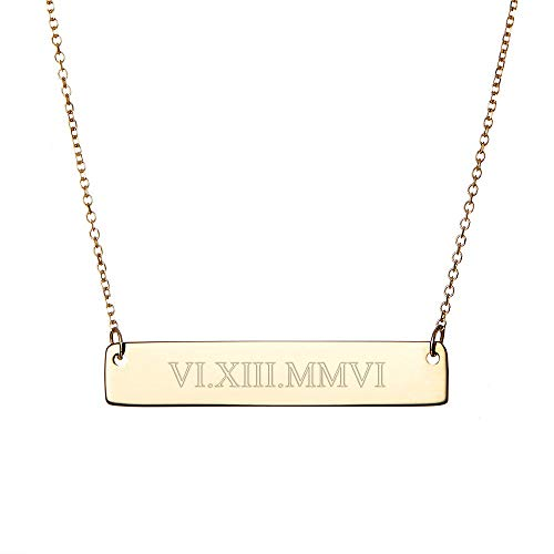 Gold Plated Custom Roman Numeral Bar Necklace