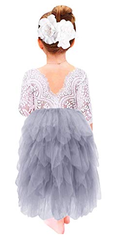 (2Bunnies Girl Peony Lace Back A-Line Tiered Tutu Tulle Flower Girl Dress (Gray Long Sleeve Maxi, 24M/2T) )