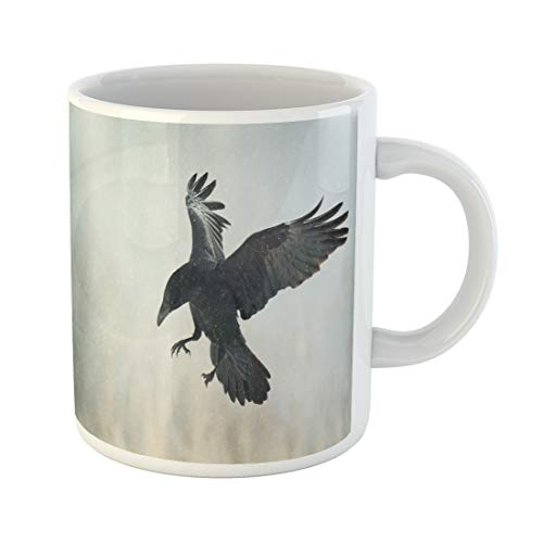 Tinmun 11 Oz Coffee Mug Bird Flying Black
