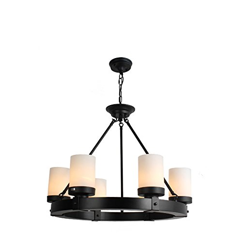 Perfectshow Industrial Edison Vintage Style 6-light Round Candle Single Tier Chandelier Light ,Black Finish,Milk White Glass Shades Flush Mount Ceiling Lighting (Black - Iron Vintage Vi Single