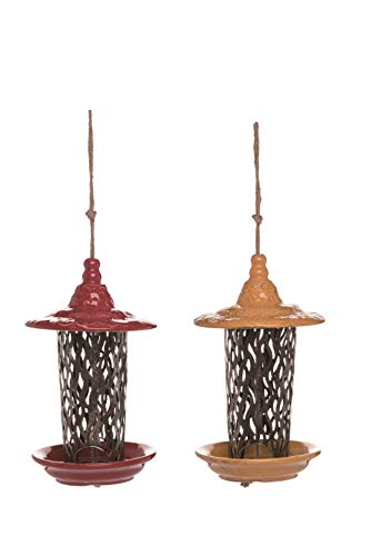 (Ten Waterloo Set of 2 Ceramic and Metal Bird Feeders 10 Inches High - Artisan Look )