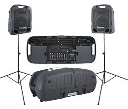 Escort 6000-Portable PA System with Stands, 9 Channel, 600 Watts