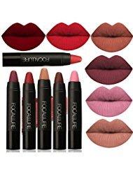 FOCALLURE 6pcs Matte Lipstick Lip Gloss Set Liquid Lip Color Waterproof Matte Liquid Lipstick