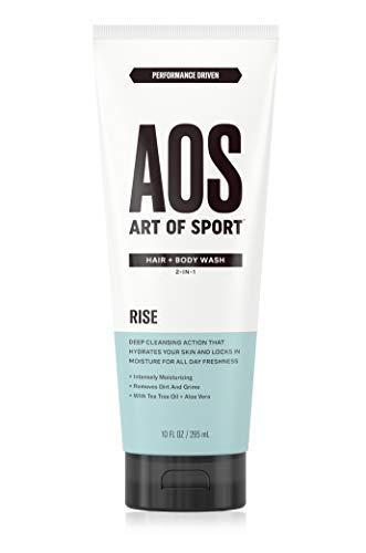 Art of Sport Men's Body Wash with Tea Tree Oil and Aloe Vera, Rise Scent, Dermatologist-Tested, Paraben-Free, Hypoallergenic, Moisturizing Shower Gel, 10 oz Active Sport Body Wash