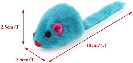 Chiwava 4.1'' Furry Cat Toy Mice Rattle Small Mouse Kitten Interactive Play Assorted Color 4