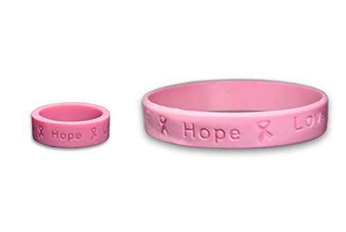 - Breast Cancer Awareness Pink Silicone Bracelet & Ring (1 Bracelet and 1 Ring - Retail)