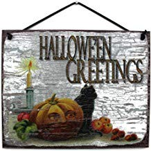 Halloween Sign Hallowe'En Greetings with Jack-O-Lantern, Black Cat and Candle Wood Signs with Sayings for Home Decor,Quotes Plaque