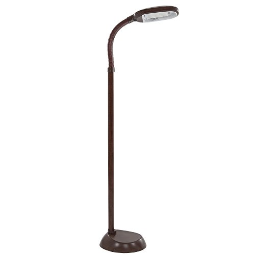 - Lavish Home (72-1438) 5 Feet Sunlight Floor Lamp With Adjustable Gooseneck - Wood Grain