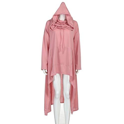 Rambling New Women's Pullover Irregular Hem Long Drawstring Loose Hoodie Top Dress by Rambling (Image #2)