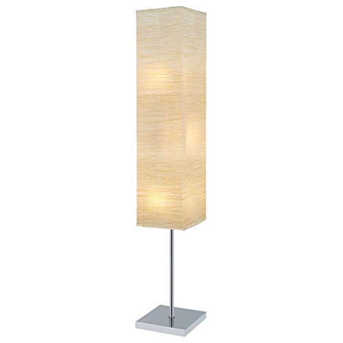 "Revel Nori 58"" Modern 3-Light Standing Floor Lamp + (3) 6W LED Bulbs (Energy Efficient/Eco-Friendly), Beige Rice Paper Shade, Wood Style Finish"