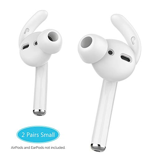 AhaStyle AirPods Ear Hooks Silicone Earbuds Covers [Sound Quality Enhancement] Compatible with Apple AirPods 2 & 1 or EarPods(Clear-2 Pairs Small)