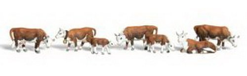 Woodland Scenics HO Scale Scenic Accents Figures/Animal Set Hereford Cows (7) by Woodland Scenics