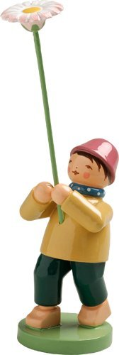 Hand Painted Wooden Boy with Daisy
